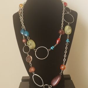 Multicolored Bead and Stone Necklace